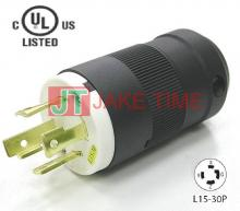 NEMA L15-30P Locking Type Plug, get UL/cUL Approved, 3Ø/4W, 250V AC/30A Current Rating, with PC Body