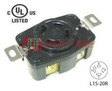 NEMA L15-20R Locking Type Receptacle, get UL/cUL Approved, 3Ø/4W, 250V AC/20A Current Rating, with PC Body